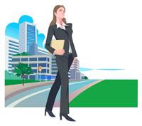 ビジネスウーマンと街 CG 22370000159| 写真素材・ストックフォト・画像・イラスト素材|アマナイメージズ
