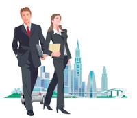 スーツ姿の男女と都市 CG