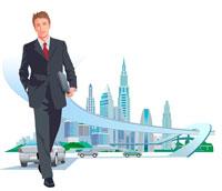ビジネスマンと都市 CG 22370000162| 写真素材・ストックフォト・画像・イラスト素材|アマナイメージズ