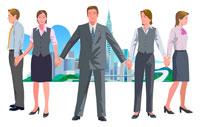 手を繋ぐスーツ姿の男女5人と街 CG