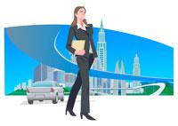 ビジネスウーマンと高速道路と街 CG