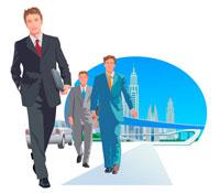 3人のビジネスマンと高速道路と街 CG