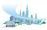 都市と高速道路と車 CG