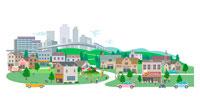 ビル群と郊外の街 CG 22370000180| 写真素材・ストックフォト・画像・イラスト素材|アマナイメージズ