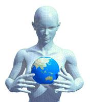 地球を抱える女性 CG