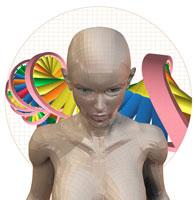 女性とDNAのイメージ CG