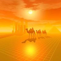 ラクダの行進とビル群 CG