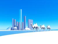 ラクダの行進と都市 CG