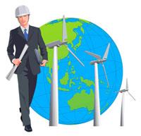 ビジネスマンと風力発電の風車 22370000232| 写真素材・ストックフォト・画像・イラスト素材|アマナイメージズ