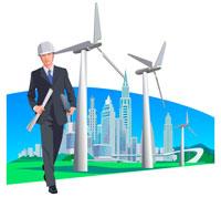 ビジネスマンと風力発電の風車