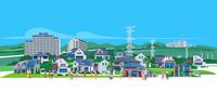 住宅地と送電線