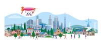 都市の安全をパトロールする飛行船 22370000322| 写真素材・ストックフォト・画像・イラスト素材|アマナイメージズ