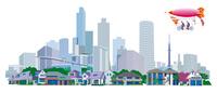 都市の安全をパトロールする飛行船 22370000324| 写真素材・ストックフォト・画像・イラスト素材|アマナイメージズ