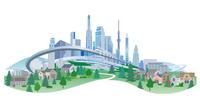 未来的な街とモノレール