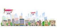 町の安全をパトロールする飛行船 22370000342| 写真素材・ストックフォト・画像・イラスト素材|アマナイメージズ