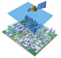 四角の街と衛星と天気図 22370000433| 写真素材・ストックフォト・画像・イラスト素材|アマナイメージズ