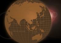 セピア調の地球とフレア