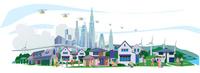 都市とドローン2 22370000457| 写真素材・ストックフォト・画像・イラスト素材|アマナイメージズ