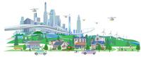 都会と街ドローン 22370000466| 写真素材・ストックフォト・画像・イラスト素材|アマナイメージズ