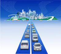 光ファイバー都市と車 22370000497| 写真素材・ストックフォト・画像・イラスト素材|アマナイメージズ