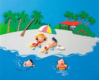 海で過ごす家族 イラスト