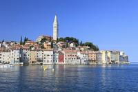 アドリア海に突き出たロビィニ家並みと聖エウフェミヤ聖堂と鐘楼