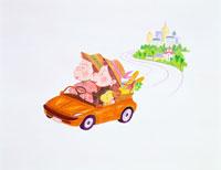 ドライブする老夫婦イラスト 22451009312| 写真素材・ストックフォト・画像・イラスト素材|アマナイメージズ