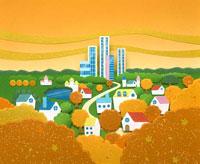 秋の街並みイラスト