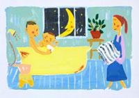お風呂に入った親子イラスト