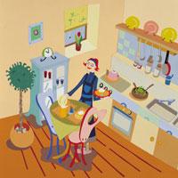 キッチンの女性 イラスト