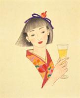 和服女性イラスト