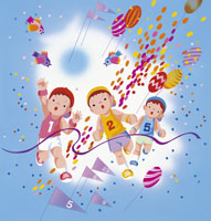 3人の子供の運動会のイラスト