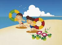 2人の子供と海水浴のイラスト