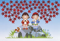 おきぎりと2人のピクニックのイラスト 22451021848| 写真素材・ストックフォト・画像・イラスト素材|アマナイメージズ
