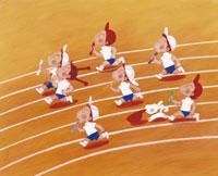 徒競走の運動会のイラスト