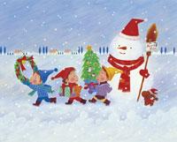 3人の子供と雪だるまのイラスト