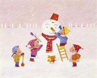 4人の子供と雪たるまのイラスト