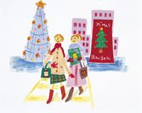 クリスマスショッピング イラスト