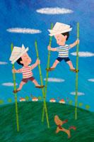 竹馬と子供 イラスト