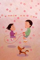 縄跳びする子供 イラスト