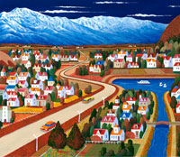 町並みと雪山 イラスト