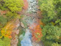 ドローンによる祖谷のかずら橋と紅葉 22451035440| 写真素材・ストックフォト・画像・イラスト素材|アマナイメージズ