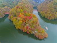 ドローンによる秋の帝釈峡と神竜湖 22451035468| 写真素材・ストックフォト・画像・イラスト素材|アマナイメージズ