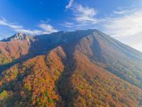 ドローンによる大山北壁の紅葉 22451035556| 写真素材・ストックフォト・画像・イラスト素材|アマナイメージズ