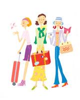 旅行支度の3人の女性 イラスト