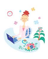 ノートパソコンで仕事する女性 イラスト