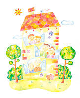 ファミリーと家のイメージ イラスト