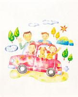 車で出かけるファミリー イラスト