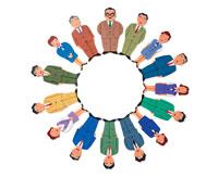 スーツの男性と女性の集合