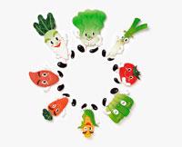 野菜のキャラクターの集合